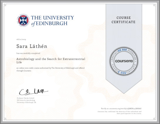 Course certificate: Astrobiology and the search for Extraterrestrial Life
